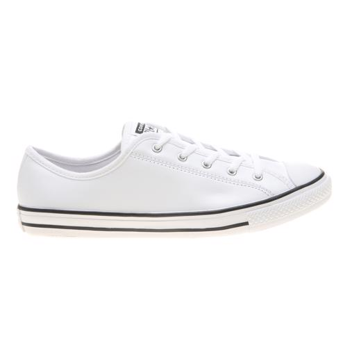 Details zu New Womens Converse White All Star Dainty Ox Leather Trainers Plimsolls Lace Up