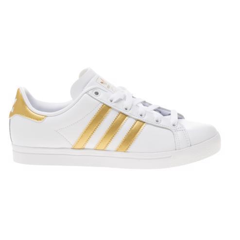 white/gold Adidas Coast Star Trainers