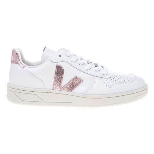 Womens white/pink Veja V10 Leather